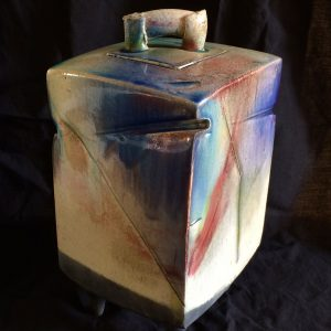 Raku Square Container, Ceramic by Traudi Thornton